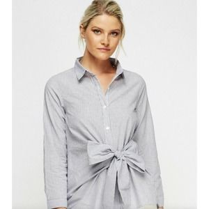 White House Black Market 12 Poplin Tie Front Shirt